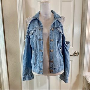 FOREVER 21 Jean Jacket Open-shoulder